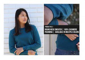 Round Neck Sweater 100% Cashmere Pashmina
