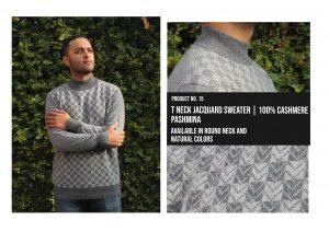 T Neck Jacquard Sweater
