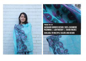 Jacquard Border Design Shawl 100% Cashmere Pashmina Multiple colors