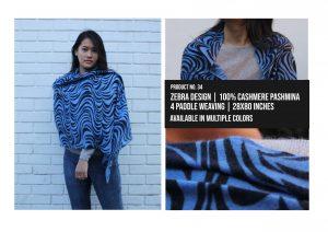 Zebra Design Shawl 100% Cashmere Pashmina Multiple colors