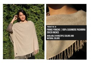 Fringe Poncho 100% Cashmere Pashmina Multiple colors